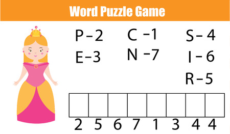 developmental: Words puzzle children educational game with numbers code. Place the letters in right order. Learning vocabulary and numbers. Printable worksheet Illustration