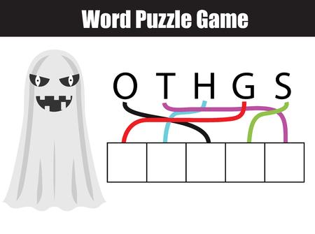 Wörter Kinder Lernspiel Mit Zahlen Code Puzzle. Legen Sie Die ...