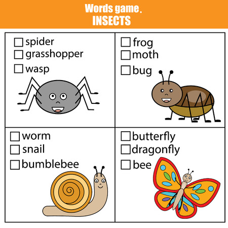 Worte Testen Bildungsspiel Für Kinder. Seetiere Thema, Vokabeln ...