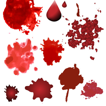 gunfire: blood splatters isolated on white. Red splashes, drops and blots design elements in various style