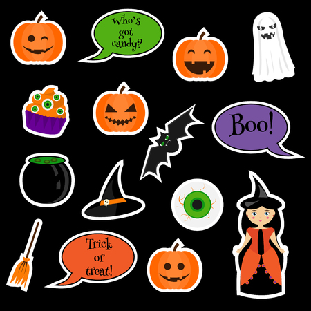 patches: Halloween stickers, patches, badges. Illustration
