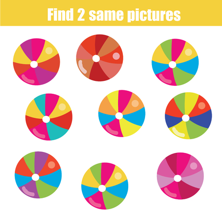 pairs: Find the same pictures children educational game. Find equal pairs of balls kids activity