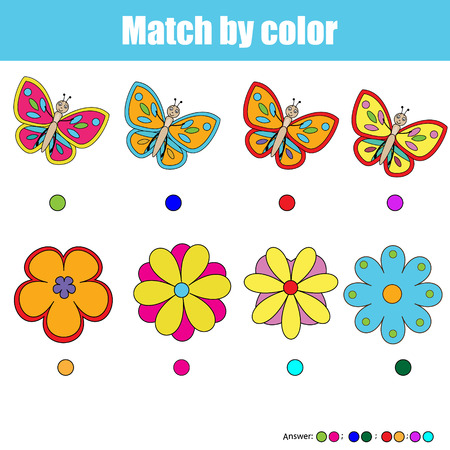 Matching pairs game for kids. Find the right pair for each butterfly and flower, children educational game. Match by color activity. Insects theme