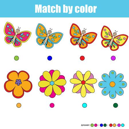 pessoas: pares de jogo para crianças de correspondência. Encontrar o par certo para cada borboleta e flor, crianças jogo educativo. Jogo de cor atividade. tema insetos