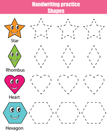Handwriting practice sheet. Educational children game. Writing training. Kids activity. Learning geometry shapes printable worksheet