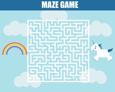 developmental: Maze children game: help the unicorn girl go through the labyrinth and find rainbow. Kids fun activity Illustration