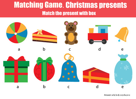 pairs: Matching pairs game for kids. Find the right box for each Christmas gift, children educational game. Stock Photo