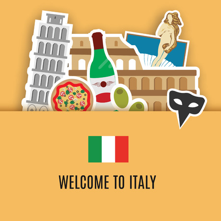colosseum: Italy travel background, symbols of Italy. Colosseum, pizza, venice mask and other. Welcome to Italy set, banner. Vector illustration Illustration