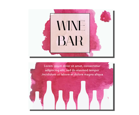 claret: Business card design template. Vector flyer. Artistic banners for wine bar, wine shop with watercolor splash and bottles