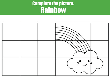 symmetry: Grid copy game, complete the picture educational children game. Printable kids activity sheet with cute rainbow. learning Symmetry drawing
