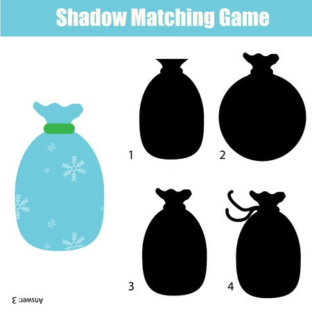 school age: Shadow matching game for children. Find the right, correct shadow for kids preschool and school age. Printable worksheet, Christmas theme