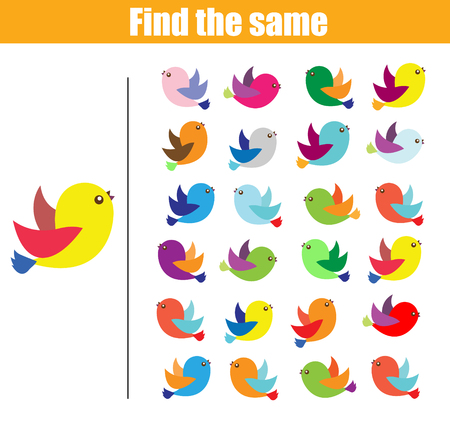 Find the same pictures children educational game. Find equal birds kids activity Vectores