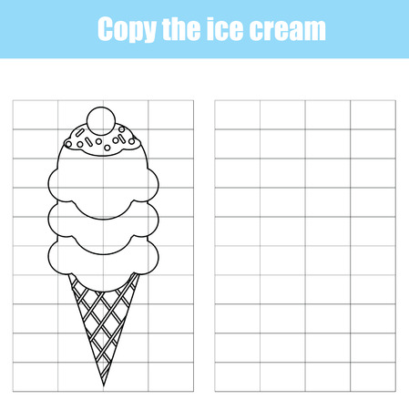 Grid copy game, complete the picture educational children game. Printable kids activity sheet with ice cream.