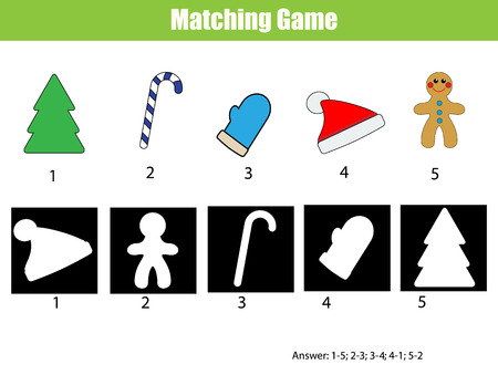 matching: Shadow matching game for children. Find the right, correct shadow for kids preschool and school age. Printable worksheet, Christmas theme