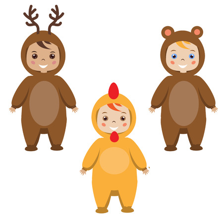 party outfit: Kids party outfit. Cute smiling happy children in animal carnival costumes, vector illustration. Isolated children in deer, bear and rooster chicken clothes