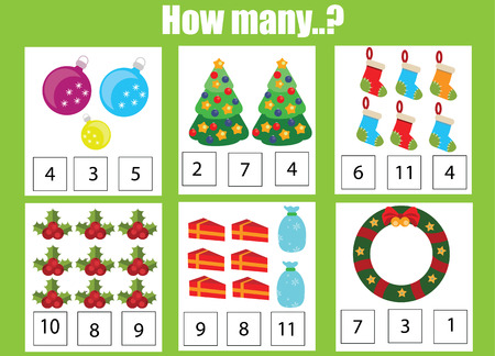 additional training: Counting educational children game, kids activity worksheet. How many objects task, christmas, winter holidays theme. Learning mathematics, numbers, addition theme