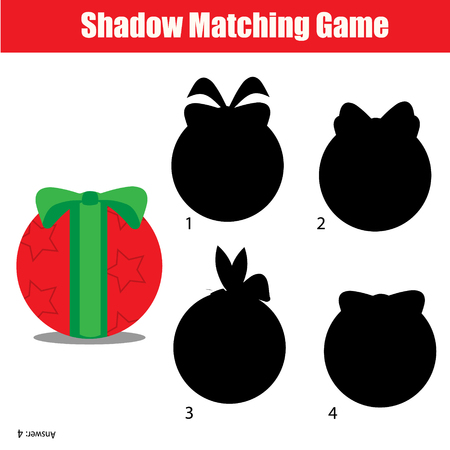 school age: Shadow matching game for children. Find the right, correct shadow for kids preschool and school age. Printable worksheet, Christmas, winter holidays theme Illustration