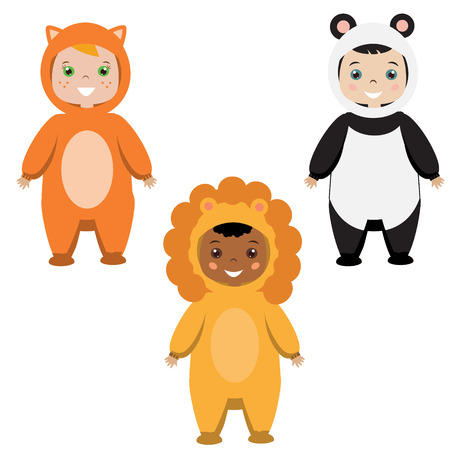 party outfit: Kids party outfit. Cute smiling happy children in animal carnival costumes, vector illustration. Isolated children in fox, panda bear and lion clothes