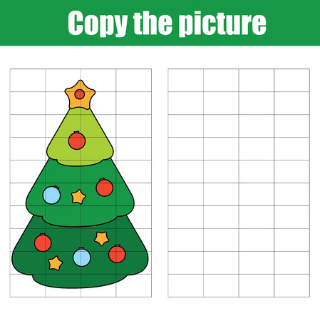 Copy the picture using a grid children educational drawing game. Printable drawing kids activity, worksheet. copy the Christmas tree. New year holidays theme