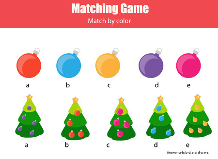 Matching pairs game for kids. Match by color, Find the right ball for each Christmas tree, children educational game. New Year holidays theme Illusztráció