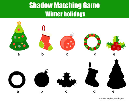 school age: Shadow matching game for children. Find the right, correct shadow for kids preschool and school age. Printable worksheet, Christmas, winter holidays theme Stock Photo