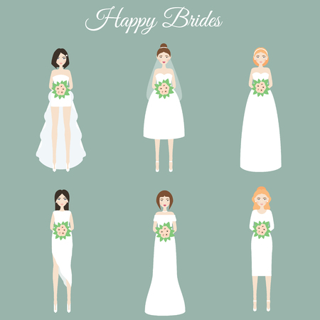 Smiling happy brides holding flowers. Women in fashion wedding dresses. Vector illustration, scrapbook stikers, isolated design elements Illustration