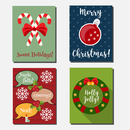 candy canes: Christmas, New year holidays vector vertical banners design template. Party invitations design template. Greeting cards with candy canes, wreath, christmas ball, speech bubbles