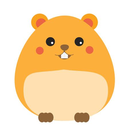 Cute hamster cahracter. Children style, vector illustration. Sticker, isolated design element for kids books
