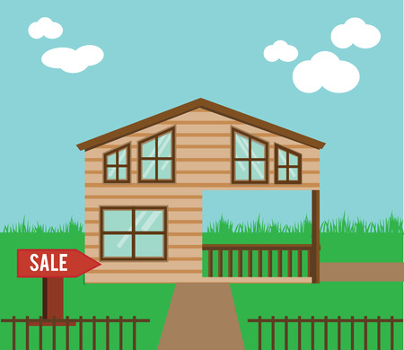yard sale: Real estate on sale. House, townhouse, sweet home vector illustration. Vector cottage with sale sign in yard Illustration