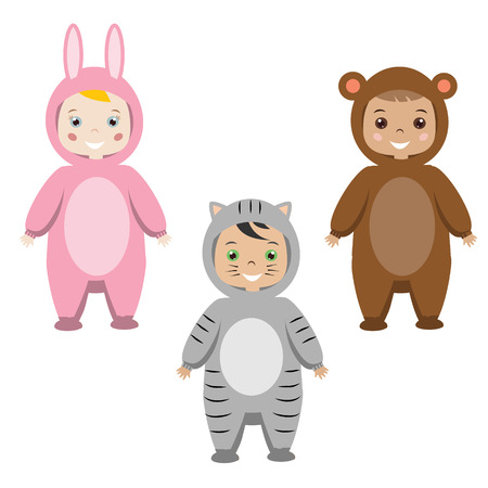 Kids party outfit. Cute smiling happy children in animal carnival costumes, vector illustration. Isolated children in bunny, cat and monkey clothes