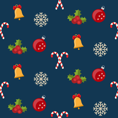 candy canes: Christmas seamless pattern with new year winter holidays symbols. bells, candy canes, christmas balls Illustration