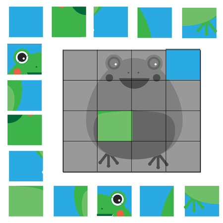 part frog: Educational puzzle game for children. Kids activity sheet with frog character, restore the picture with mosaic pieces Illustration