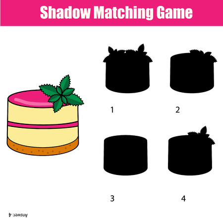 school age: Shadow matching game for children. Find the right, correct shadow for kids preschool and school age