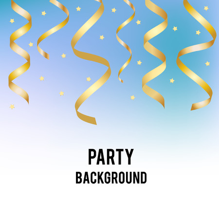 party streamers: Party, holiday vector background with blue subtle spot and golden streamers. Design template for invitation, social media, promotion. Birthday, party, christmas, new year banner