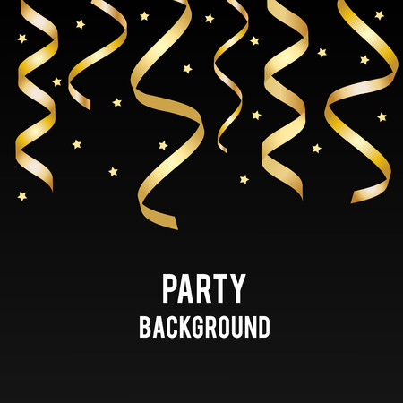 party streamers: Party, holiday vector background with golden streamers and black backdrop. Design template for invitation, social media, promotion. Birthday, party, christmas, new year banner Illustration