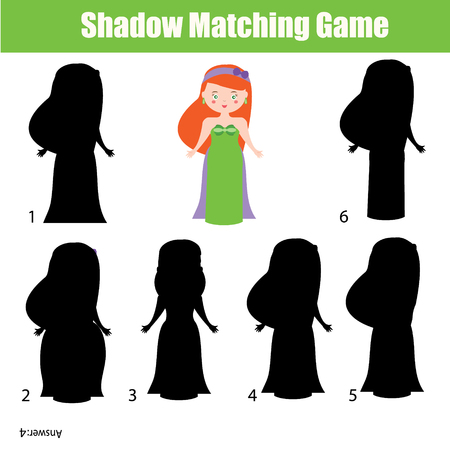 developmental: Shadow matching game for children. Find the right, correct shadow activity for kids preschool and school age. Princess character Illustration