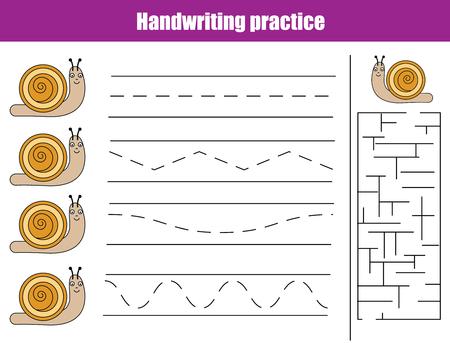 Handwriting Practice Sheet. Educational Children Game, Activity ...