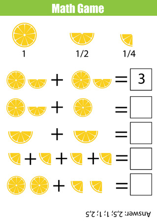 additional training: Mathematics educational game for children. Learning counting, addition worksheet for kids. Fractions, half, quarters