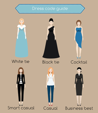 Woman dress code guide infographic. From white tie to business casual. Female in different types of dress and clothes