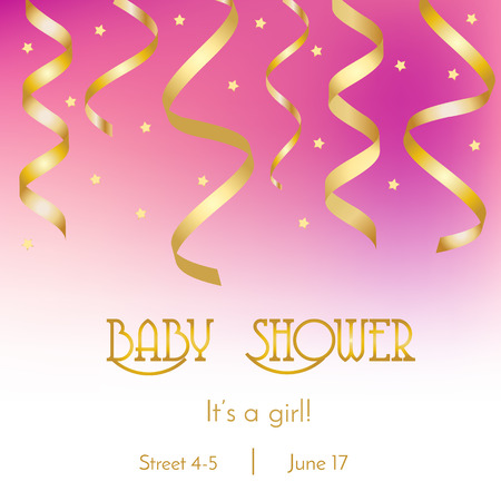 party streamers: Baby shower card, invitation design template with subtle pink background. Its a girl party with golden streamers and confetti