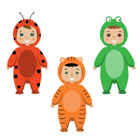 party outfit: Kids party outfit. Cute smiling happy children in animal carnival costumes, vector illustration. Isolated children in ladybug, tiger and frog clothes