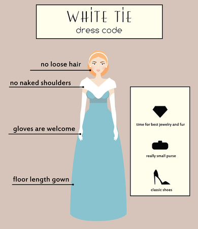 evening gown: Woman dress code infographic. White tie type. Female in evening long gown dress Illustration