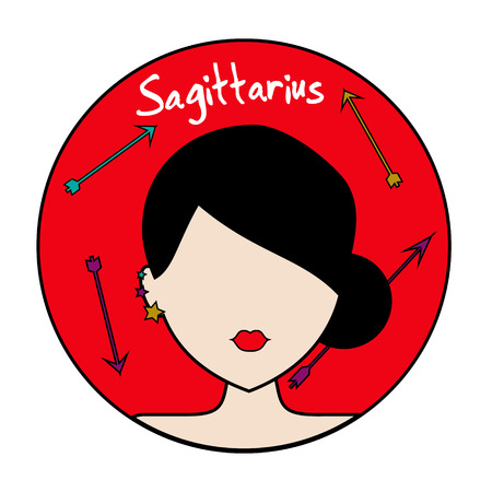 Sagittarius zodiac sign. Icon with fashionable woman face with trendy hairstyle and arrows. Userpic in hand drawn style Illustration
