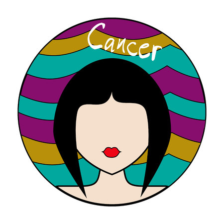 Cancer zodiac sign. Icon with fashionable woman face and wavy colorful background Illustration