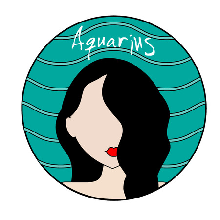 waterbearer: Aquarius zodiac sign. Vector icon with fashionable woman face and wavy background