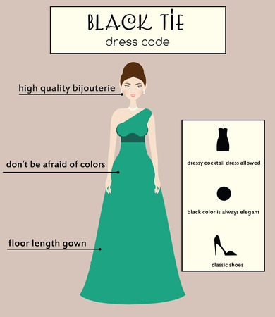 black tie: Woman dress code infographic. Black tie type. Female in evening long gown dress
