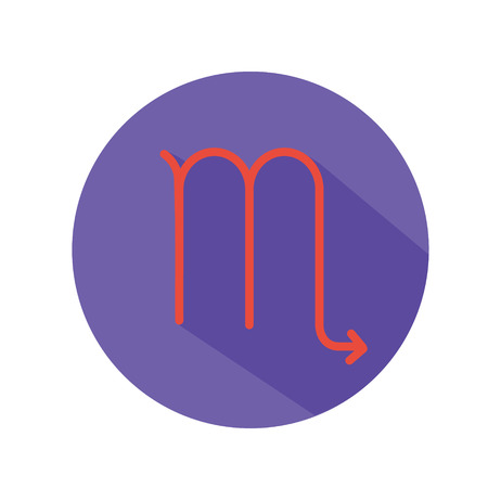 Virgo. Classic Astrological Zodiac Sign. Vector icon in Flat Style with Long Shadow. Design element for applications, web and other business