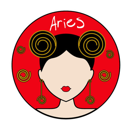 Aries zodiac sign. Icon with fashionable woman face with trendy hairstyle and golden design elements