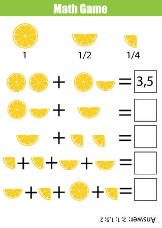 Matemáticas juego educativo para los niños. conteo de aprendizaje, además de la hoja de trabajo para los niños. Fracciones, la mitad, cuartos