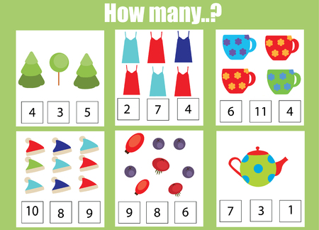addition: Counting educational children game, kids activity worksheet. How many objects task. Learning mathematics, numbers, addition theme